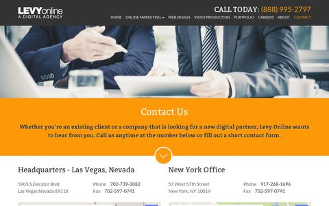 Screenshot of Contact Page levyonline.com - Contact Levy Online | The Best Online Marketers in Las Vegas - captured Oct. 2, 2014