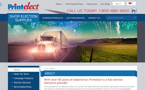 Screenshot of About Page printelect.com - About Printelect | Election Day Products & Supplies | Who We Are - captured Sept. 30, 2014