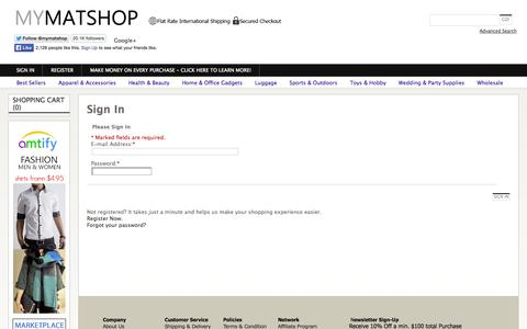 Screenshot of Login Page mymatshop.com - Asia Online Shopping Mall -  Small Business Wholesale Supplier - captured Nov. 4, 2014