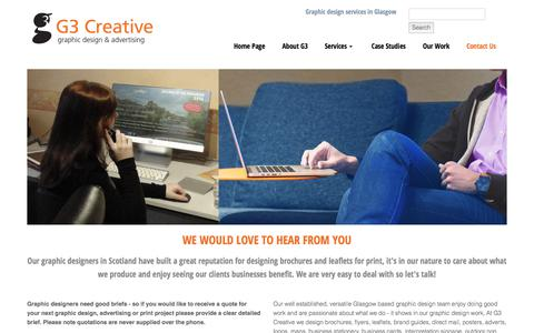 Screenshot of Contact Page g3creative.co.uk - Contact G3 Creative in Glasgow, Scotland - captured Feb. 27, 2020