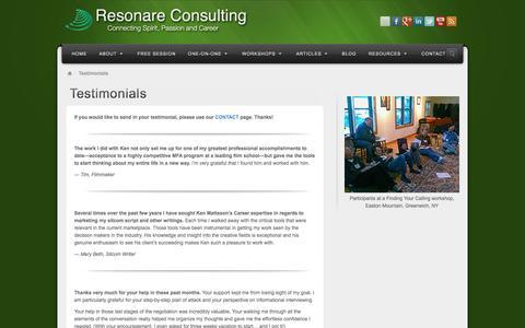 Screenshot of Testimonials Page resonare.com - Testimonials | Resonare Consulting - captured April 26, 2017