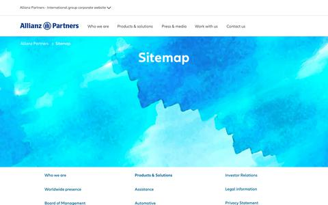 Screenshot of Site Map Page allianz-partners.com - Allianz Partners sitemap - captured April 19, 2019