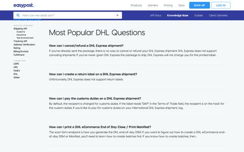 Screenshot of Support Page easypost.com - Knowledge Base DHL Search - EasyPost - captured Dec. 4, 2019