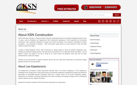 Screenshot of About Page ksnconstruction.com - About Us | KSN Construction - captured Sept. 30, 2014