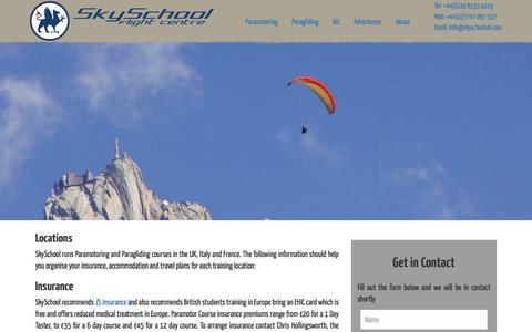 Screenshot of Locations Page skyschooluk.com - Paramotoring and Paragliding Course Locations - SkySchool UK - captured Nov. 30, 2016
