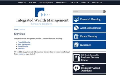 Screenshot of Services Page iwmco.com - Services - Integrated Wealth Management - captured Oct. 27, 2014