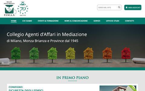 Screenshot of Home Page fimaamilano.it - F.I.M.A.A. Milano, Monza & Brianza - captured Oct. 21, 2018