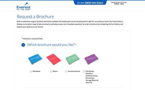 Screenshot of Landing Page everest.co.uk - Request a Brochure | Everest - captured Aug. 13, 2016