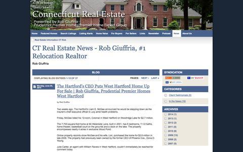 Screenshot of Blog Press Page ctrob.com - Real Estate Information CT Rob - Prudential Premier Homes - Rob Giuffria - CTRob CTRob.com | Connecticut Homes | Farmington - captured Oct. 23, 2014
