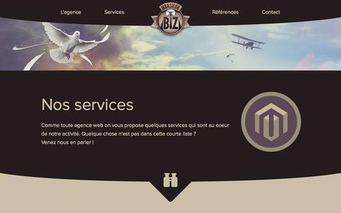 Screenshot of Services Page monsieurbiz.com - Nos services - Monsieur Biz - captured Oct. 26, 2014