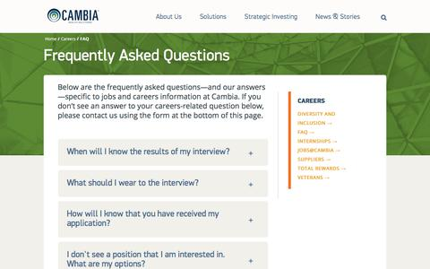 Screenshot of FAQ Page cambiahealth.com - Frequently Asked Questions | Cambia Health Solutions - captured Sept. 28, 2019
