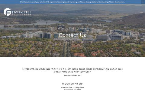Screenshot of Contact Page frogtech.com.au - Contact — Frogtech Geoscience - captured Aug. 21, 2018