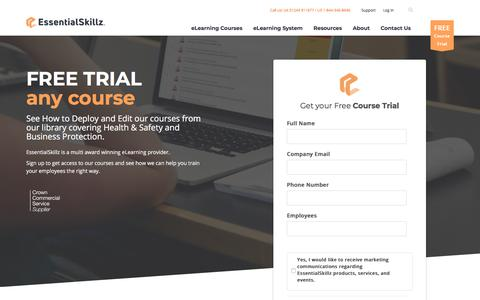 Screenshot of Trial Page essentialskillz.com - EssentialSkillz Free Trial Request - Trial any of our Courses for Free - captured July 21, 2018