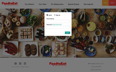 Screenshot of Login Page foodtoeat.com - FoodtoEat   Order Food Online   Pickup & Deliveries   Restaurants & Food Trucks - captured July 12, 2018