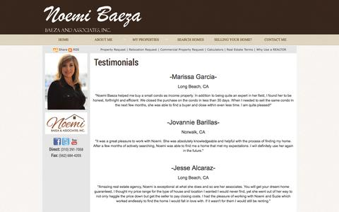 Screenshot of Testimonials Page noemibaeza.com captured Oct. 7, 2014