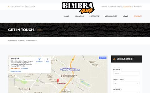 Screenshot of Contact Page bimbra.in - Get in touch – Bimbra 4×4 - captured Oct. 10, 2017