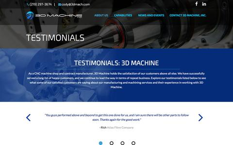 Screenshot of Testimonials Page 3dmach.com - CNC Machine Shop & Machining Services: 3D Machine Testimonials - captured Nov. 28, 2016