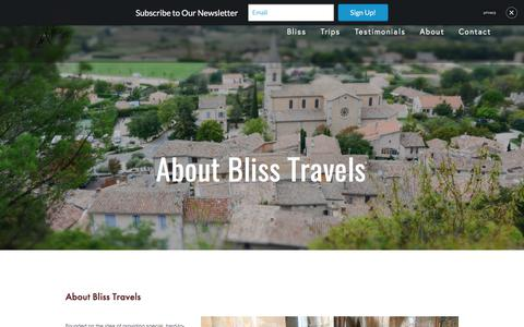 Screenshot of About Page blisstravels.com - About Bliss Travels — Bliss Travels - captured June 1, 2017