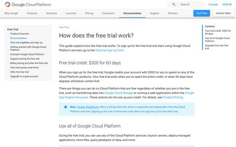 Screenshot of Trial Page google.com - How does the free trial work? | Free Trial       | Google Cloud Platform - captured Jan. 5, 2017