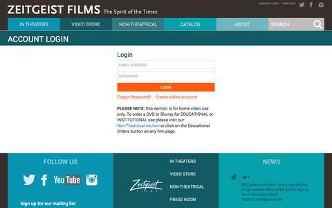 Screenshot of Login Page zeitgeistfilms.com - Zeitgeist Films :: Account Login - captured July 3, 2016