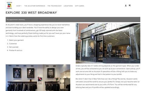 Screenshot of Locations Page acustom.com - Explore 330 West Broadway                           | Acustom Apparel - captured Sept. 13, 2014