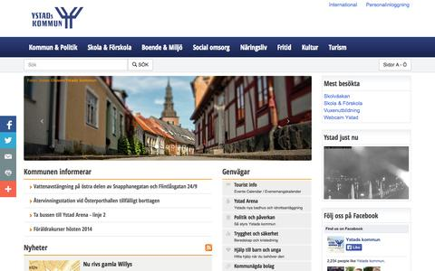 Screenshot of Home Page ystad.se - Ystads kommun - Ystads kommun - captured Sept. 25, 2014
