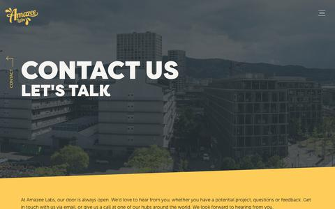 Screenshot of Contact Page amazeelabs.com - Contact Us | Amazee Labs Drupal Development and Web Design | Zurich Austin Cape Town - captured May 20, 2019