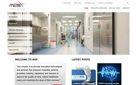 Screenshot of Home Page m2s.com - M2S - Powering healthy data. - captured Sept. 30, 2014
