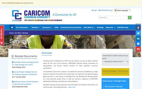 Screenshot of Services Page caricom.org - Caribbean Community (CARICOM) Secretariat - captured Sept. 2, 2016
