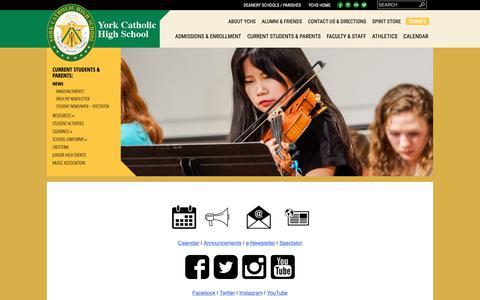 Screenshot of Press Page yorkcatholic.org - News   - captured Oct. 19, 2018