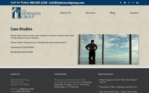Screenshot of Case Studies Page thehowarthgroup.com - Case Studies   The Howarth Group   Public Insurance Adjusters - captured Nov. 9, 2017