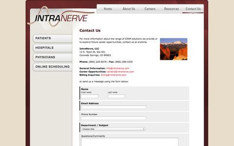Screenshot of Contact Page intranerve.com - Contact | IntraNerve IONM - captured Sept. 30, 2014