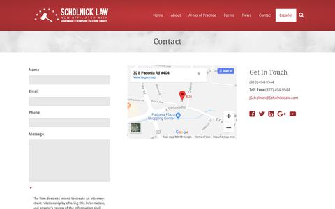 Screenshot of Contact Page scholnicklaw.com - Contact | Scholnick Law - captured Oct. 18, 2018