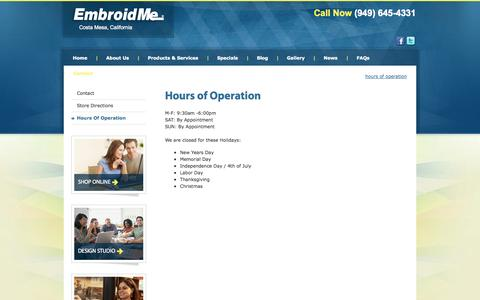 Screenshot of Hours Page embroidme-costamesa.com - Hours of Operation | EmbroidMe - captured Sept. 29, 2014