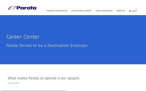 Screenshot of Jobs Page parata.com - Career Center | Parata - captured Nov. 18, 2019