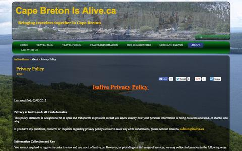 Screenshot of Privacy Page capebretonisalive.ca - Privacy Policy - Cape Breton Is Alive - captured Sept. 29, 2014