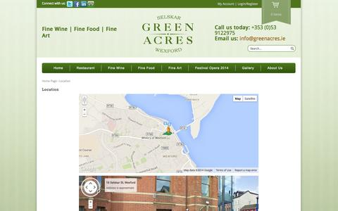 Screenshot of Maps & Directions Page greenacres.ie - Location | GreenAcres - captured Oct. 3, 2014