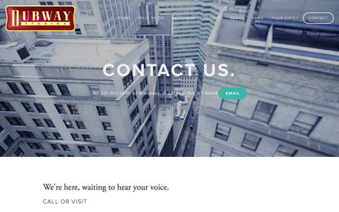 Screenshot of Contact Page dubwaymusic.com - Contact — Dubway Studios, NYC | Music - captured March 27, 2016