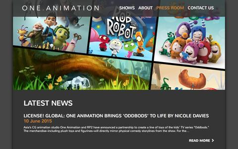 Screenshot of Press Page oneanimation.com - One Animation - captured Feb. 14, 2016