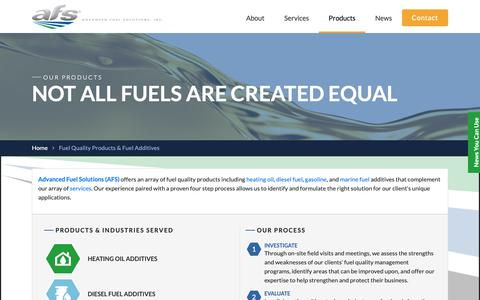 Screenshot of Products Page yourfuelsolution.com - Fuel Quality Products & Fuel Additives - Advanced Fuel Solutions - captured Nov. 12, 2018