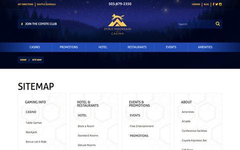 Screenshot of Site Map Page spiritmountain.com - Sitemap | Spirit Mountain Casino - captured June 3, 2018