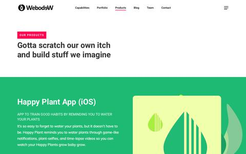 Screenshot of Products Page webodew.com - Products - Webodew - captured July 14, 2018