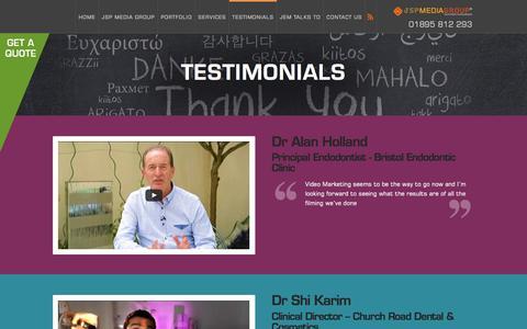 Screenshot of Testimonials Page jspmediagroup.com - Testimonials - JSP Media Group - captured July 23, 2016