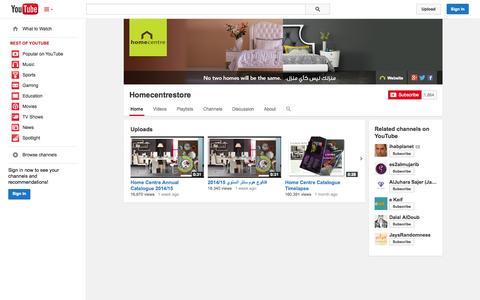 Screenshot of YouTube Page youtube.com - Homecentrestore  - YouTube - captured Oct. 22, 2014