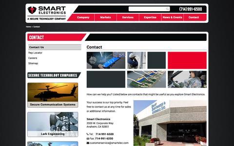 Screenshot of Contact Page smartelec.com - Contact - Smart Electronics - captured Oct. 9, 2014