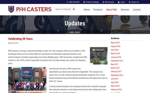 Screenshot of Blog phcasters.com - Updates   P&H Casters - captured June 16, 2019