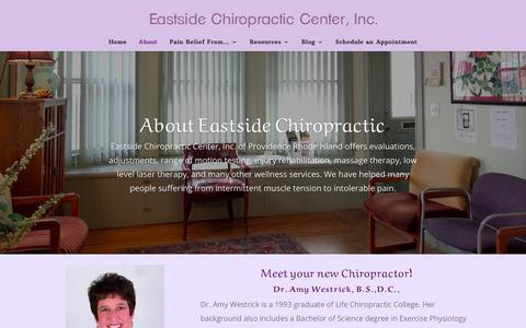 Screenshot of About Page eastsidechirocenter.com - About - Eastside Chiropractic Center, Inc. - captured Sept. 26, 2018
