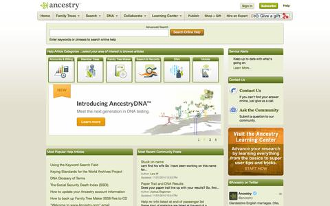 Screenshot of Support Page ancestry.com - Support Home Page - captured Nov. 2, 2014