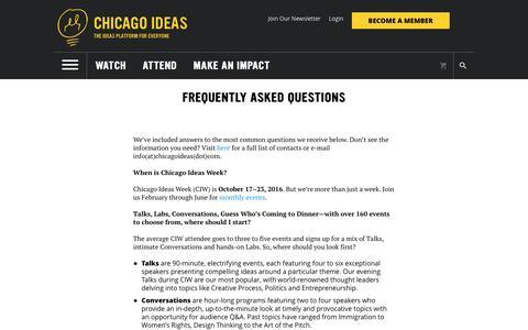 Screenshot of FAQ Page chicagoideas.com - Chicago Ideas Week - captured Nov. 5, 2016