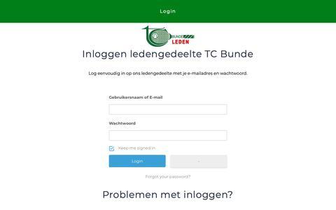 Screenshot of Login Page tcbunde.nl - Login – TC BUNDE | Leden - captured Oct. 23, 2018